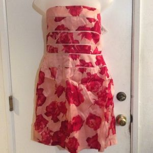 Kay Unger NY Silk Floral Strapless Short Dress